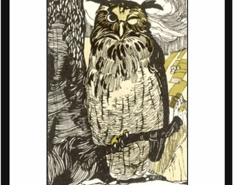 A Weiberger Sketch of an Owl on a Tree Branch 8x10 Satin Print