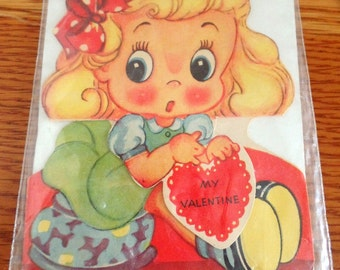 Vintage 1950-60s Valentines Day card.  This is a tri fold card, as shown.