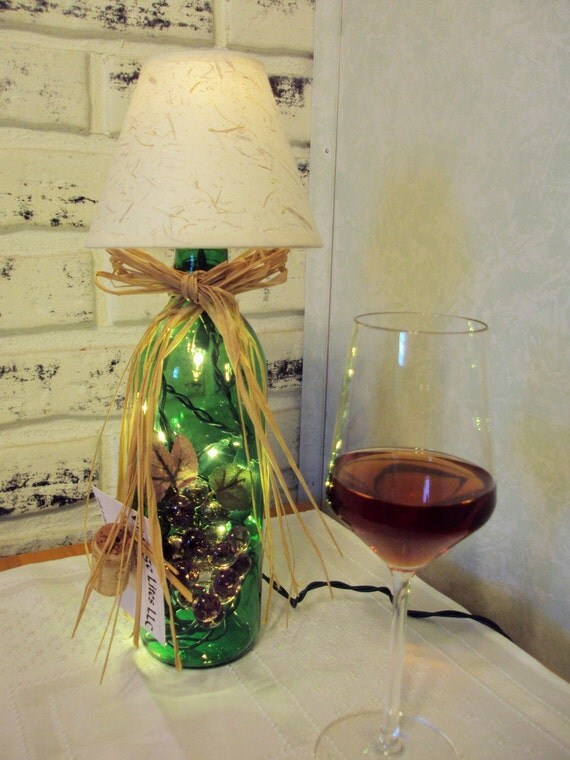 Green lighted wine bottle lamp with shade by vintagelitesllc for Wine cork lampshade