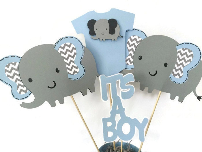 Elephant baby shower centerpiece in blue and gray