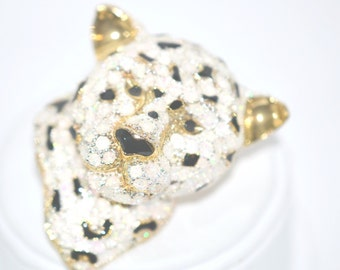 Vintage White Panther Snow Leopard Brooch