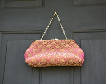 wedding clutch, evening clutch,gold and pink brocade clutch