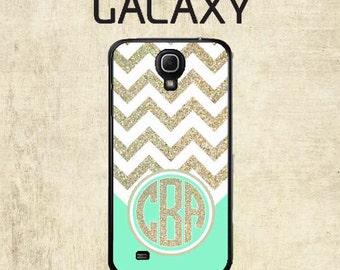 Personalized Galaxy S5 Case - Galaxy S6 Case - Mint Gold Chevron Samsung Galaxy S7 Case - Monogram Galaxy S7 Case - Not Actual Glitter