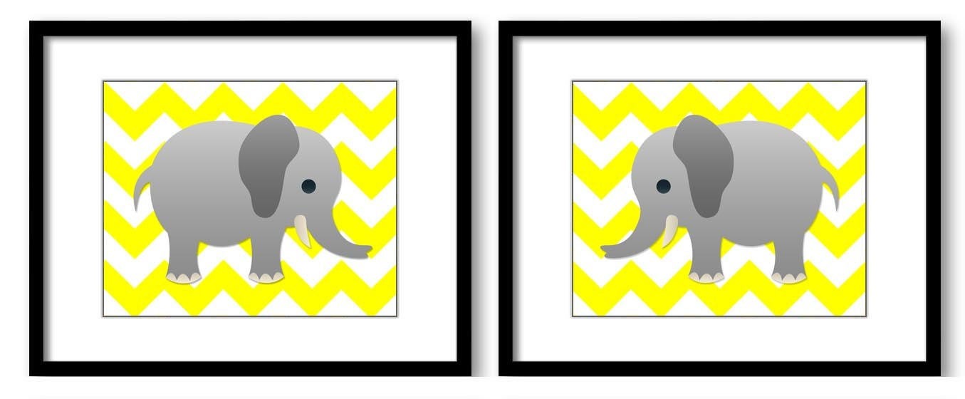 Bright Yellow Grey Chevron Gray Elephant Nursery Art Nursery Print Set of 2 Elephants Child Art Prin