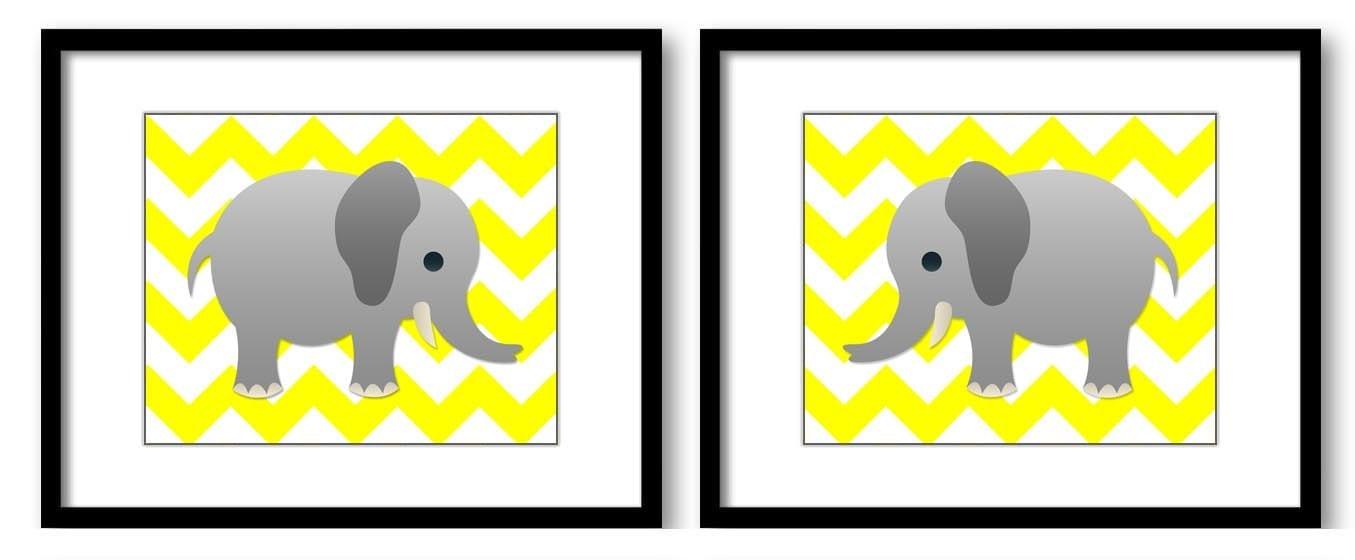 Bright Yellow Grey Chevron Gray Elephant Nursery Art Nursery Print Set of 2 Elephants Child Art Prin