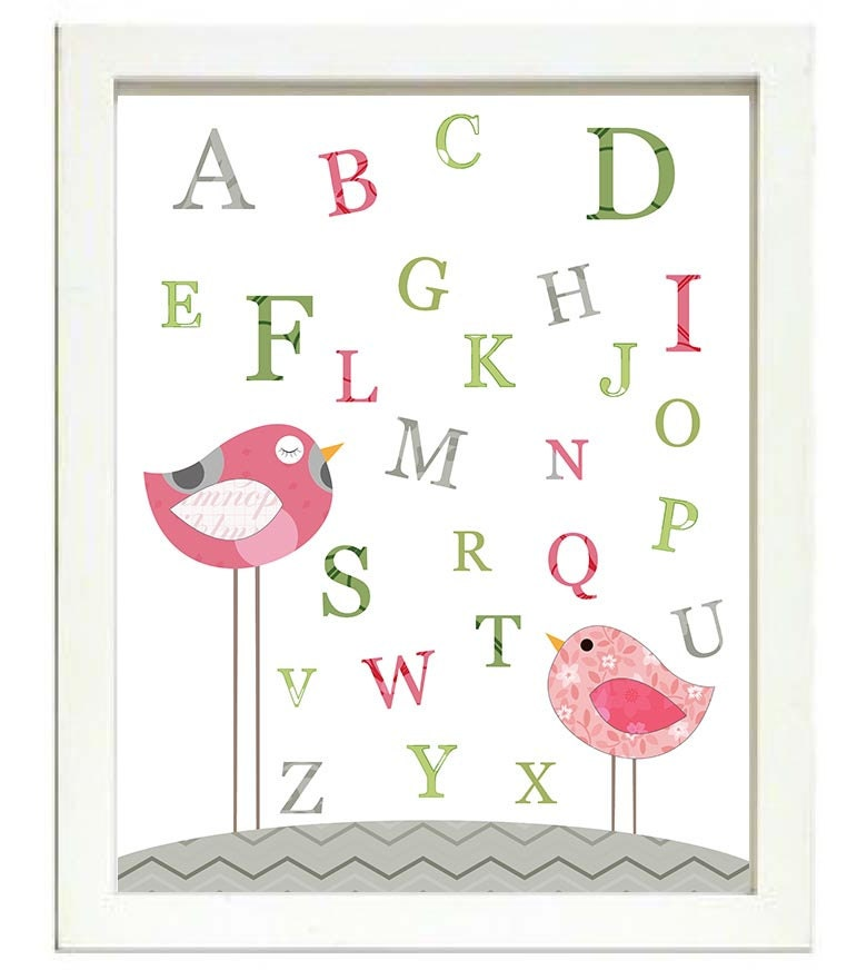 Bird Nursery Art Alphabet ABC Nursery Print Baby Art Animal Birds Chick Green Pink Grey Gray Green P