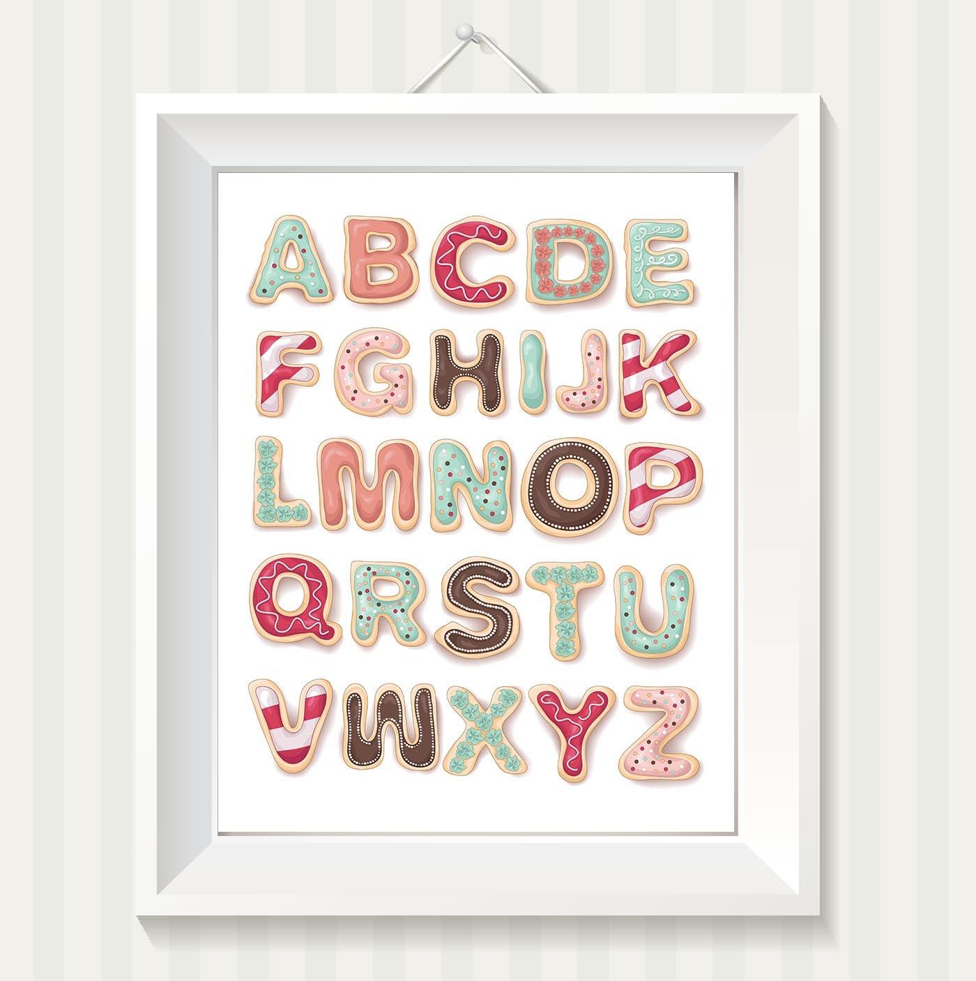 Cute Cookie Alphabet Kids Room Nursery Art ABC Letters Nursery Print Pink Teal Blue Brown Child Baby