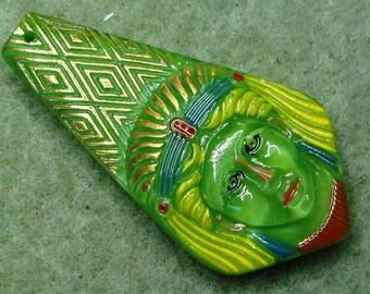 Czech Glass Button - hand painted - Egyptian head, pharaoh, green, blue, yellow, gold (S079)