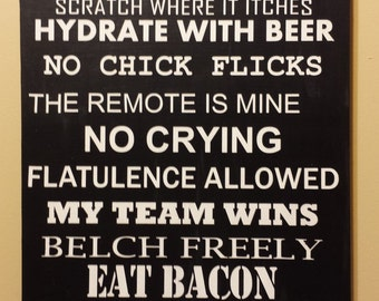 Man Cave Rules Wooden Sign
