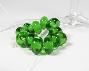 Transparent Green - Set of 12 Handmade Spacer Beads