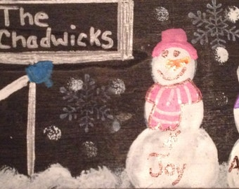 Customized Snowman Family Wall Hanging