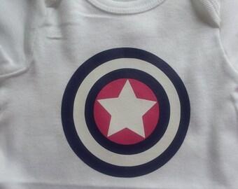 Little Girl Superhero Shirt - Captain America - heat transfer vinyl