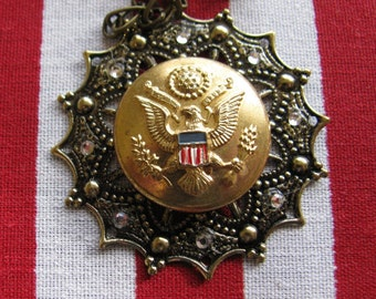 US Army Button Necklace-Salute to the Red, White & Blue