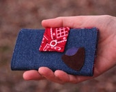 Small, Cute Ladies Handmade Cloth and Leather Wallet Clutch With Leather Pocket For Guitar Pick