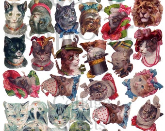 Large Cat Heads Number Digital Download Collage Sheet