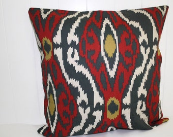 Pillow, Throw Pillow Cover, Decorative Pillow Cover Navy and Red Ikat 12X16, 16x16