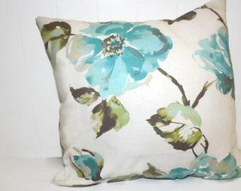 Decorative Home Essentials Aqua Floral Pillow Cover  16x16