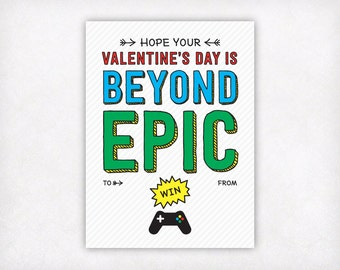 Printable Kids Valentine Card, Video Game Valentines Day Cards, Boys Youtuber Gamer Beyond Epic Kids Classroom Valentine's Day Cards