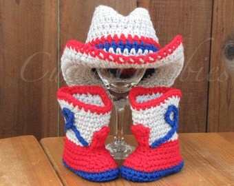 new England Patriots Newborn Baby Crochet Cowboy Hat & Boots Photo Prop. 0-3, 3-6m.