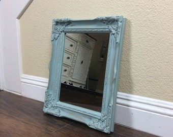 MIRROR, Wall Mirror, Blue Mirror, Home And Living, Ornate Wall Mirror, Antiqued Mirror, French Country, Mirror, Ornate Decor