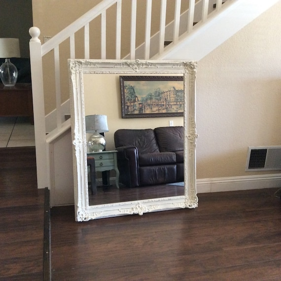 Ornate white mirror for sale large wall mirror by shabbyshores for Large white mirrors for sale