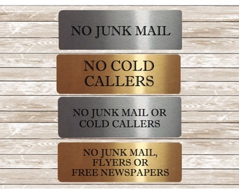 VITAL SIGNS for Home or Office: No Junk Mail or Cold Callers, Flyers or Newspapers Silver, White or Gold Metal Plaques