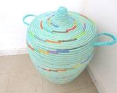 New Basket in turquoise, flat lid Hamper, spiral pattern, multicolour, wicker