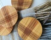 Wood Coasters - Set of 4 - Engraved Wood Coasters - Plaid - Tartan - set of 4