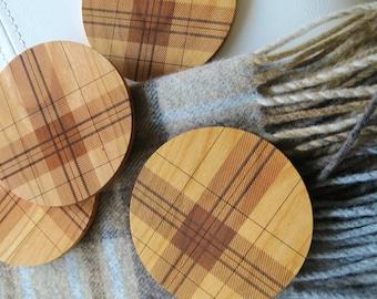 Wood Coasters - Set of 2 - Engraved Wood Coasters - Plaid - Tartan - set of 2