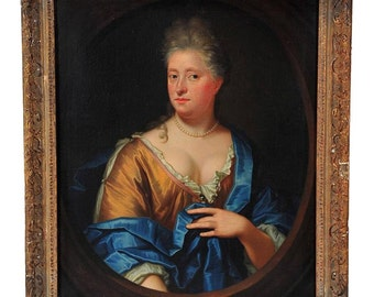 French School 18C. Magnificent Portrait of an Elegant Lady-Original Oil Painting