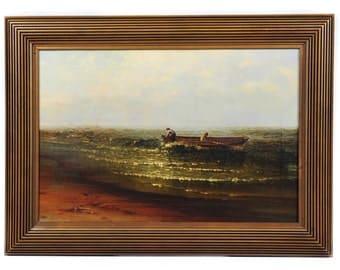 Harry J. Sunter(c.1850) Fishermen offshore-Beautiful Oil Painting