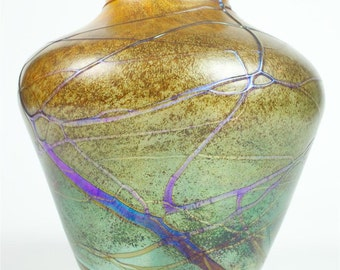 20th Century Art Glass-Absolutely Stunning Large iridescent Vase -Signed -WOW!!
