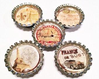 Postcards from Paris  Bottle Cap Magnet Set of 5