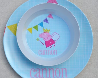 Personalized Melamine Plate + Bowl Set - Peppa The Pig