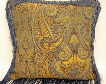 Tapestry pillow, Blue and tan pillow, Fringe Pillow, Decorator Pillow, Throw Pillow, Custom Pillow, Blue Pillow, Blue Sofa Pillow