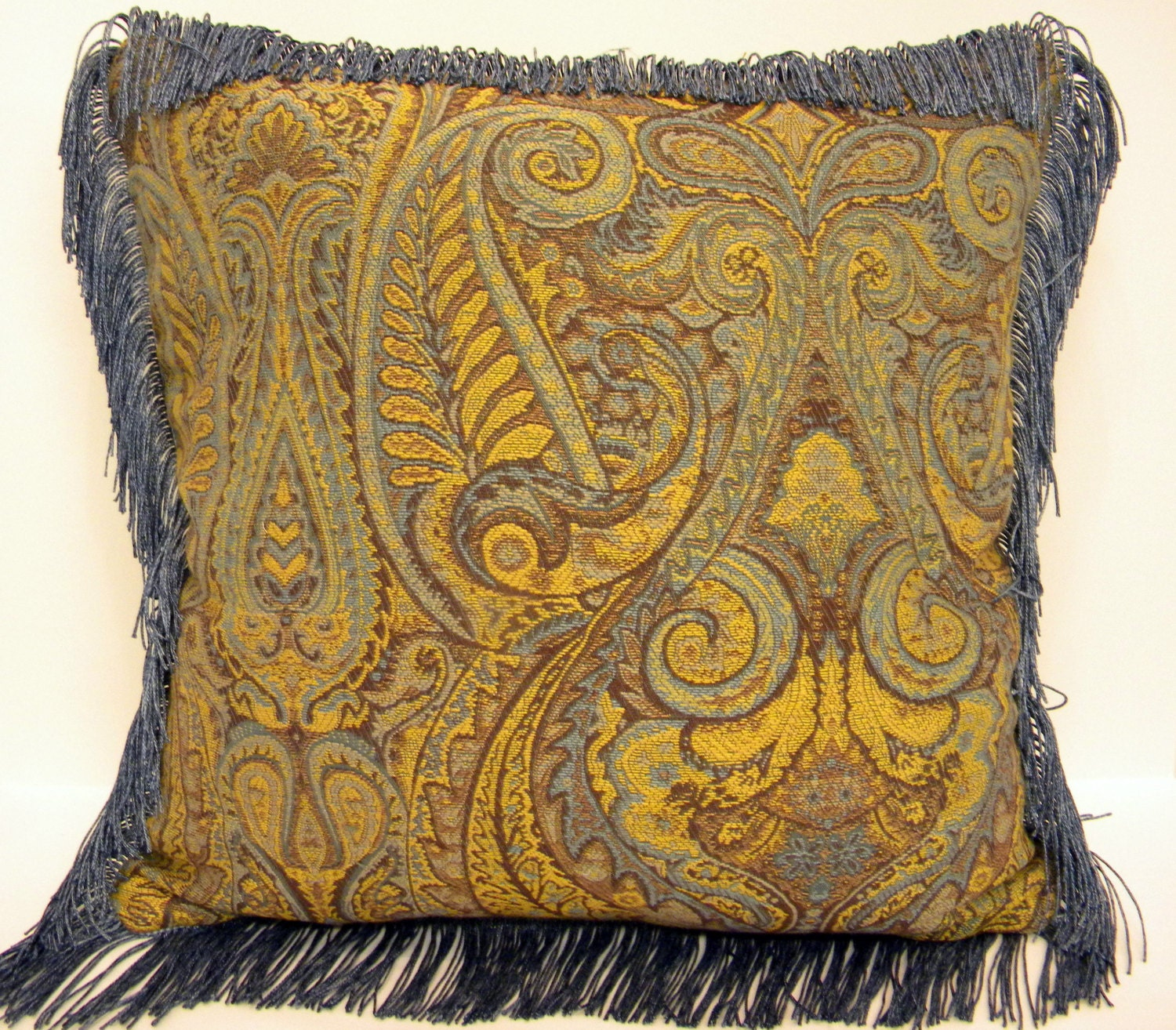Decorative Throw Pillows With Fringe : Tapestry pillow Blue and tan pillow Fringe Pillow Decorator
