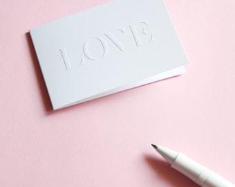 Lovely embossing greeting gift card» love»