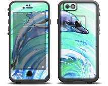 The Pastel Vibrant Blue Dolphin Skin Set for the Apple iPhone 6 LifeProof Case (Other Models Available!)