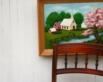 Vintage original framed painting of a church in the country