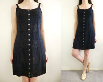 VTG 90s Dark Blue Ethnic Boho Embroidered Mini Dress Size S Gypsy Hippie Festival