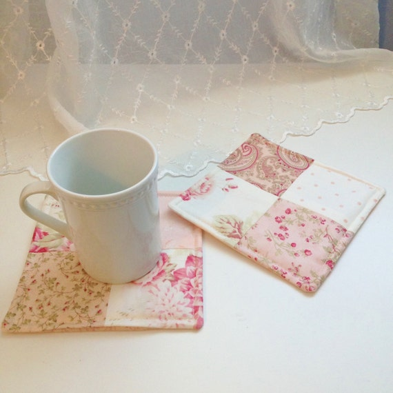 Shabby Chic Mug Rugs Quilted Fabric Coasters Candle Mats