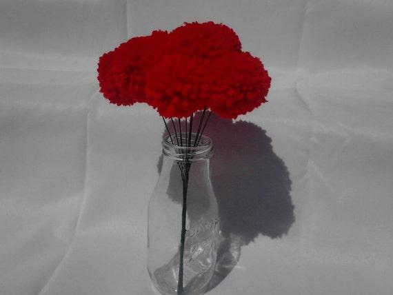 12 Red Yarn Pom Pom Flowers Pom Pom Bouquet By BlackwellsBoutique