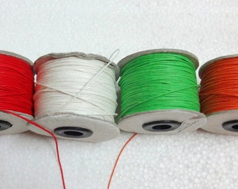 Assorted Waxed Cotton Cord / Thread - For Jewelry Making Set of four shades