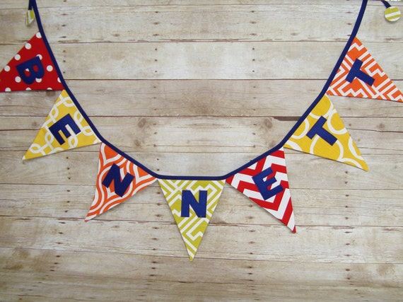 Colorful Name Banner - red, orange, yellow and lime fabric - party decor - babys name banner - baby shower decor - custom name banner