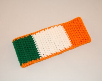 Irish Flag Ear Warmer, Crochet ear warmer, St Pattys ear warmer, winter headband