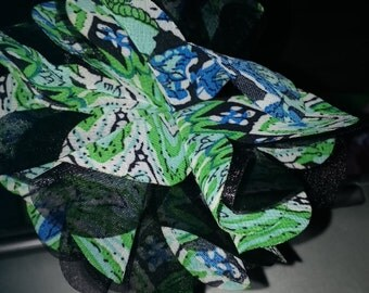 Green & Black Flower Headband