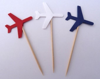 24 Red White Blue Patriotic Airplane Toothpick Cupcake Toppers, Food Picks, Theme Party Picks, Travel, Ships in 3-5 Business Days