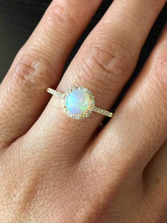 14k White Gold Diamond Halo Round Fire Opal By LDFineJewelry