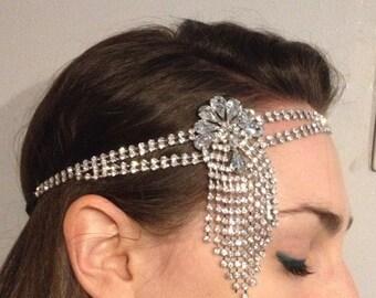 1920s Flapper headband Vintage style diamante crystal Bridal Headband Fascinator Gatsby Hairband