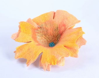 Huge felt brooch 15% OFF - sunny jewelry with yellow flower - felted wool brooch, fiber art, big yellow brooch - floral jewelry [B54]